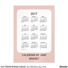 2017 Thistle Holiday Calendar by Janz 5x7 Magnet Magnetic Card