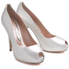 Aruna Seth Court 4 1/3 Inch Ivory Satin Heels