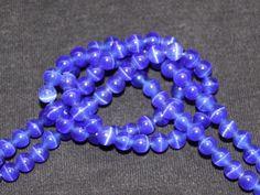 10 x perle œil de chat Bleu Fonce 6mm, en Verre, Forme ronde -- PVE-0072.5 : Perles en Verre par crehando