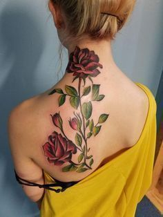 Image result for long stem roses tattoos on back