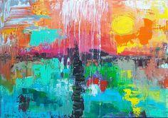 """The Power of NOW""💚, 🎨  artwork artist painting contemporary contemporaryart interiør interiordesign interiors homedeco  ichliebees kunstliebe kunst abstractartist abstraktekunst, landscape, sea, moon, sunset"