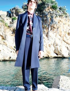 Marijn+Aper+in+cotton+and+silk+coat+by+Paul+Smith,+floral+printed+cotton+shirt+and+t-shirt+by+Valentino,+cotton+trousers+by+Lemaire+and+leather+belt+by+Prada,+Another+Man+S/S15