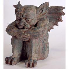 Cute Gargoyles   10020: Cute Sitting Gargoyle Statue : Lot 10020