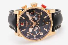 """HANHART Herrenuhr """"Primus Racer"""", Chronograph. Rosé-Gold 18K. Automatic-Werk, Cal. ETA 7750. Lederb"""