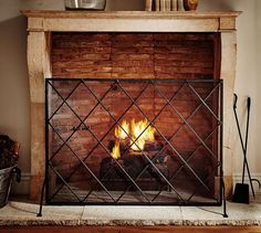 Lattice Fireplace Single Screen | Pottery Barn