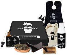 BarFex Bartpflege Set 9-Teilig | Bart�l, Bart Balsam, Bart Shampoo, Bartb�rste, Bartkamm, Bart Schere, Bart Schablone, Bart Sch�rze, Reise-Stoffbeutel | Geschenk f�r M�nner in einer hochwertigen Holzbox + kostenloses E-Book