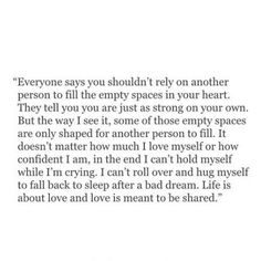 I'm tired of going to bed alone, of not having someone to share life with. But i also know I'm not truly ready for the relationship i want and need just yet. This inbetween place is hard and takes its toll at times.