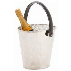Hammered Metal/Leather Ice Bucket