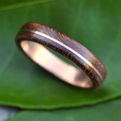 Wood Ring Rose Gold Asi Nacascolo - ecofriendly wood wedding band with recycled 14k rose gold, red gold wood ring, pink gold wood ring by naturalezanica on Etsy