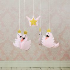ON SALE Swan crib mobile baby girl nursery by MiracleInspiration