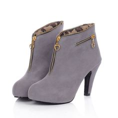Shoespie Nubuck Zipper Decorated Ankle Boots