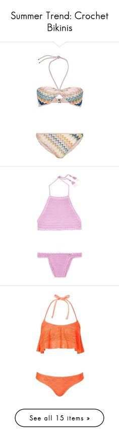 """Summer Trend: Crochet Bikinis"" by polyvore-editorial ❤ liked on Polyvore featuring crochetbikinis, swimwear, bikinis, bikini, knit swimwear, bikini swim wear, bandeau bikini, swimming bikini, swim bikini and swimsuits"