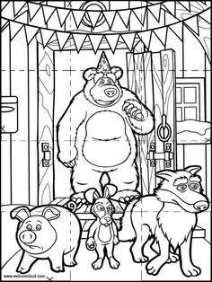 Masha y el oso para colorear  Rayito de Colores  Cumple Masha y