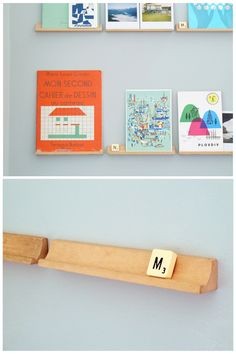 Super-cute idea: scrabble trays as display shelves. only, what happens when you want to play scrabble? Scrabble Letras, Wooden Scrabble Tiles, Scrabble Board, Scrabble Crafts, Scrabble Coasters, Scrabble Wall, Ideas Prácticas, Display Shelves, Book Shelves