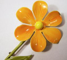 Vintage Orange Painted Enamel Flower Pin 1960s by GretelsTreasures