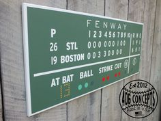 Painted Fenway Green Monster Scoreboard Boston Red by 406Concepts, $115.00