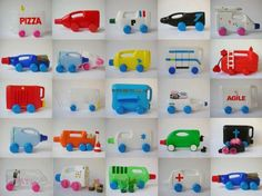 Martine Camillieri is a visual artist and author - a pioneer in recycling everyday items into toys, in this case recycled bottles become toy automobiles. Recycled Toys, Recycled Bottles, Recycled Crafts, Kids Crafts, Crafts To Make, Plastic Bottle Crafts, Recycle Plastic Bottles, Plastic Containers, Plastic Recycling