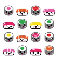 Cute Kawaii Sushi - Japanese Food Vector Icons Set Stock Vector - Illustration of dinner, asia: 53422980 Doodles Kawaii, Food Doodles, Cute Kawaii Drawings, Cute Animal Drawings, Sushi Drawing, Food Drawing, Japanese Drawings, Easy Drawings, Cute Japanese