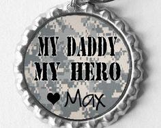 My Daddy My Hero Keychain by 4EverAlwaysDesigns on Etsy, $11.00