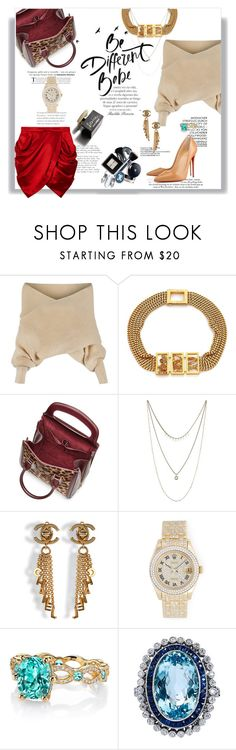 """""""Ser diferente, babê!"""" by railda-pereira ❤ liked on Polyvore featuring Balmain, WithChic, Alexander McQueen, Lucky Brand, Chanel, D&G, Rolex, Erica Courtney, red and skirt"""