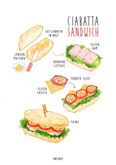 homemade ciabatta sandwich recipe illustration instagram @moreparsley_ heavenkim.com/