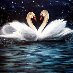 acrylic painting with swan - Google Search