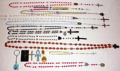 Lot Of Vintage Rosaries And Religious Pendants Italy And France