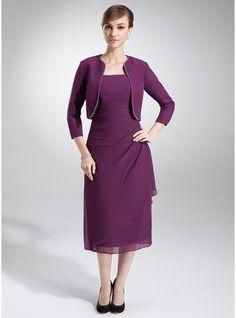 Forme Fourreau Encolure carrée Longueur mollet Mousseline Robe de mère de la mariée avec Emperler Robe à volants