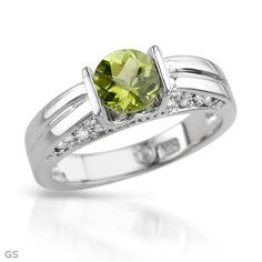 Terrific Brand New Ring With 1.25ctw Precious Stones - Genuine Clean Diamonds and Peridot Well Made in 14K White Gold- Size 6 - Certificate Available. Size 6 gold peridot ring