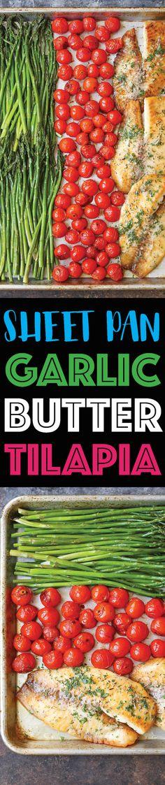 Sheet Pan Garlic Butter Tilapia - Damn Delicious Tilapia Recipes, Fish Recipes, Seafood Recipes, Cooking Recipes, Healthy Recipes, Bread Recipes, Pan Cooking, Chickpea Recipes, Vegetarian Recipes