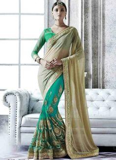 Beautiful Sea Green Beige Mirror Work Georgette Net Designer Wedding Sarees http://www.angelnx.com/