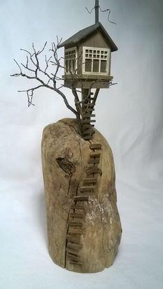 Driftwood House Driftwood Art Diorama Driftwood by ModartDiorama