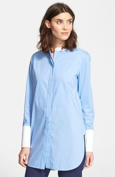 "Free shipping and returns on Vince Poplin Shirt at Nordstrom.com. <p><B STYLE=""COLOR:#990000"">Pre-order this style today! Add to Shopping Bag to view approximate ship date. You'll be charged only when your item ships.</b></p><br>Wide cuffs and a sleek band collar cheerfully subvert classic menswear style on an oversized button-down shirt cut from smooth stretch cotton."