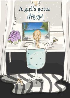 Una chica tienes que soñar arte para las por RoseHillDesignStudio