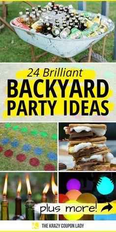 Summer Backyard Parties, Backyard Party Games, Backyard Birthday Parties, Backyard Party Decorations, Birthday Bbq, Adult Birthday Party, Party Summer, Outside Birthday Decorations, Easy Kids Party Games