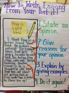 How to Write Long from your Post-it anchor chart for elaborating on annotations
