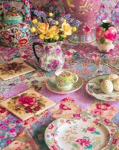 Kaffe Fassett tea table - Fabuous!!