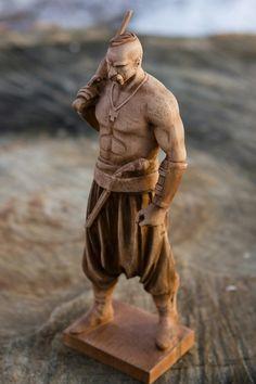 #Kosak Wood Carving Faces, Dremel Wood Carving, Wood Carving Patterns, Wooden Statues, Wooden Art, Viking Ornament, Ganesha Art, Modelos 3d, Ukrainian Art