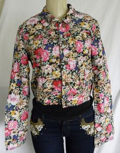 New Women's Jean Jacket Black with Pink Blue Yellow Floral Light Weight M L #MutualFit #JeanJacket