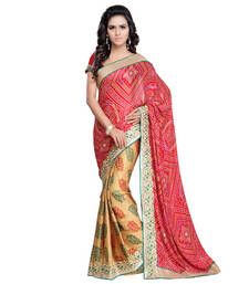 Buy Maroon And Beige embroidered chiffon saree with blouse bandhani-sarees-bandhej online