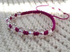Purple Shamballa bracelet with Glass Crystal Beads and Silver Plated Beads