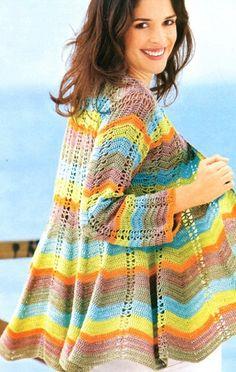 crochelinhasagulhas: Casaco colorido em crochê