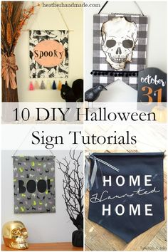 Enjoy the Fall season with some new Halloween crafts! It's so fun to decorate for Halloween. Make one of these fun DIY Halloween sign tutorials to hang with your other Fall decor! Make your Halloween sign cute or spooky! Halloween Banner, Halloween Home Decor, Diy Halloween Decorations, Halloween House, Holidays Halloween, Halloween Crafts, Halloween Table, Halloween Stuff, Diy Halloween Signs