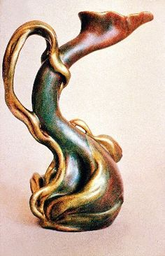 Tulip pitcher, Zsolnay, Hungary, 1900    https://www.artexperiencenyc.com/social_login/?utm_source=pinterest_medium=pins_content=pinterest_pins_campaign=pinterest_initial