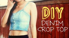 DIY Upcycled Denim Crop Top...Definitely a retro-looking top, the daisy buttons an authentic looking 90s touch to it!