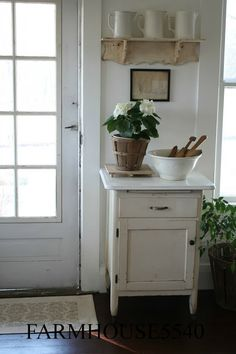 Lucky for me my mom didn't want this adorable white cupboard anymore. I decided to put in our front room next to the door. I wanted to . Chic Decor, Decor, Home, House Styles, Farmhouse Chic, Interior, White Cupboards, Cottage Decor, House Interior