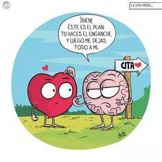Heart Vs Mind, Heart Vs Brain, Teacher Memes, Queen Quotes, Cool Posters, Humor, Funny Comics, Funny Cute, Best Quotes