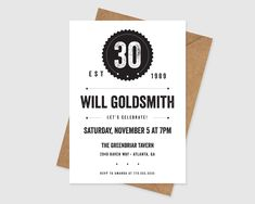 Modern Birthday Printable Invitation - Birthday for Him Birthday Invitation 30th Birthday For Him, 30th Birthday Parties, Printable Invitations, Party Printables, 60th Birthday Invitations, Lets Celebrate, Party Time, Messages, Stationary