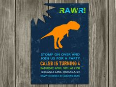 Printable Modern Dinosaur Birthday Invitation | FREE Thank You Card Included | Boy Birthday Party Idea | T Rex | Tyrannosaurus | Dino Bite Invite | Matching Party Package Available! Banner | Cupcake Toppers | Favor Tag | Food and Drink Labels | Signs | Candy Bar Wrapper | www.dazzleexpressions.com