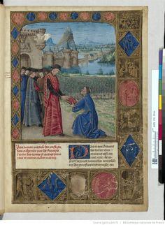 Titre : « Passages faiz oultre mer par les François contre les Turcqs et autres Sarrazins et Mores oultre marins », traité commencé à être rédigé à Troyes, « le jeudi XIIIIe jour de janvier » 1473, par l'ordre de « Loys de Laval, seigneur de Chastillon en Vendelois et de Gael, lieutenant general du roy Loys l'onziesme... gouverneur de Champaigne... par... SEBASTIEN MAMEROT de Soissons, chantre et chanoine de l'eglise monseigneur Saint Estienne de Troyes » et chapelain de Louis de Laval. Date…